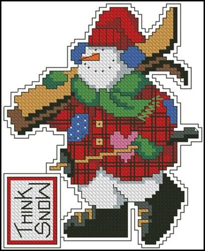 """Миниатюра """"Снеговик - лыжник"""""""