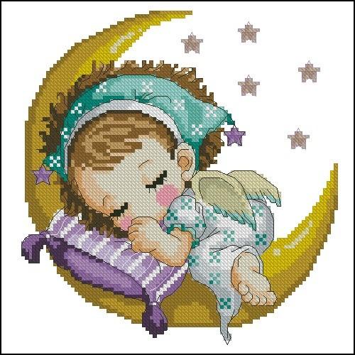 Девочка-ангелочек на Луне