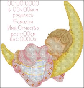Девочка - метрика для новорожденных