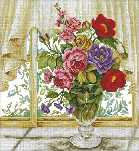 Картина вышитые розы в вазе