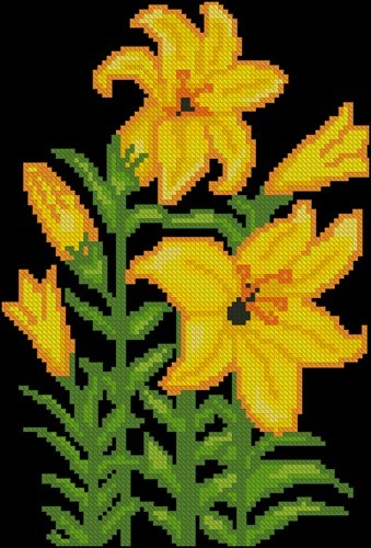Жёлтые лилии на черном фоне