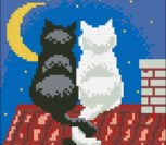 Night Time Cats Cushion Front
