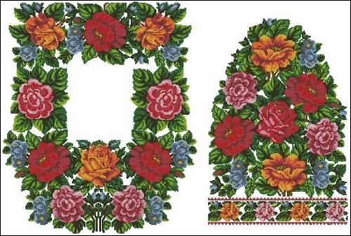 Узор для женской вышиванки с цветами