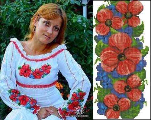 Цветастая женская вышиванка