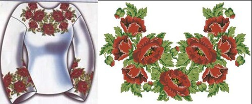 Сорочка жіноча з червоними трояндами