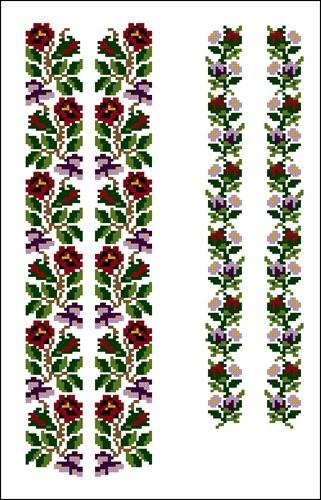 Схема вышивки крестом узора для женской вышиванки