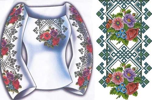 """Женская сорочка """"Узор с цветами"""""""