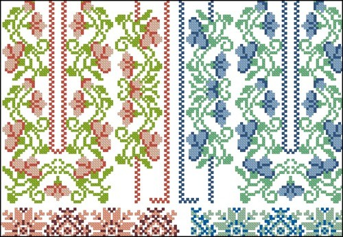 Красные и голубые узоры для сорочки-вышиванки