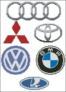 Автомобильные значки: Audi, Mitsubishi, Toyota, Volkswagen, BMW, Лада