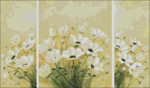 Триптих с белыми цветами