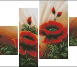 Triptico Poppies in four parts