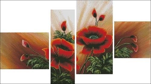 Triptico Poppies in four parts (триптих с маками)