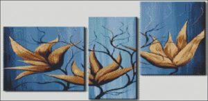 """Триптих """"Цветы на синем фоне"""""""