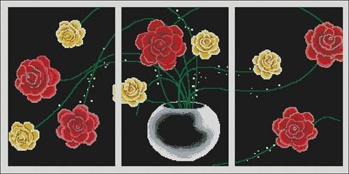 """Триптих """"Розы на черном"""""""