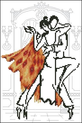 Монохромная танцующая пара в оранжевом