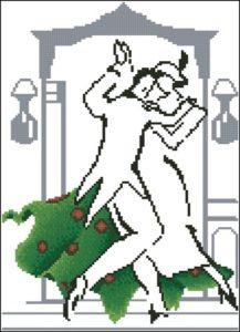 Монохромная танцующая пара в зеленом