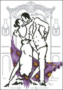 Монохромная танцующая пара в фиолетовом