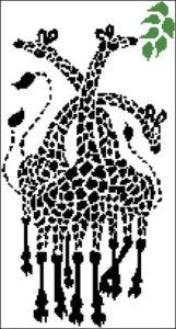 Монохромная вышивка жираф