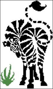 Монохромная вышивка зебра
