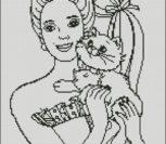 Девушка с котенком на руках контурами