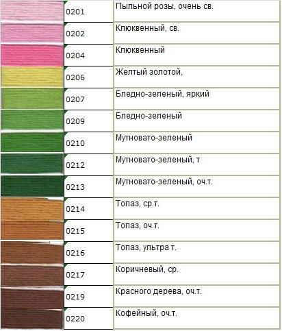 Мулине Гамма № 0200 — 0299