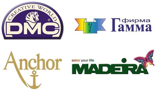 Таблица соответствия цветов ниток мулине Gamma – DMC – Anchor – Madeira