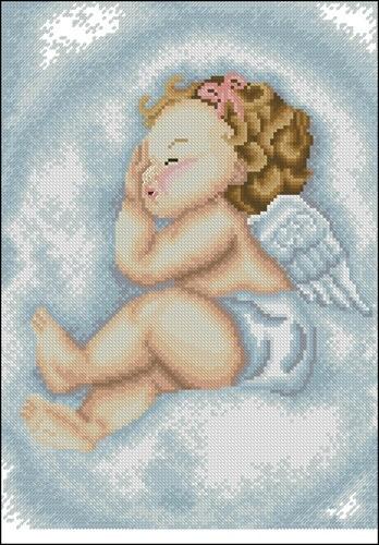 Спящий ангелочек в облаках