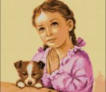 Молящаяся маленькая девочка с собачкой