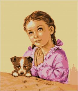 Молящаяся маленькая девочка