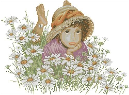 Little girl in a field of flowers