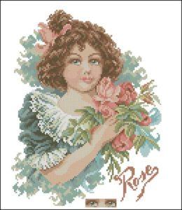 Rose meisje met rozen