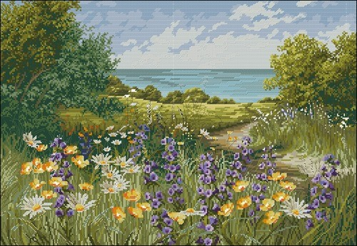 """Летний пейзаж """"Полевые цветы у моря"""""""