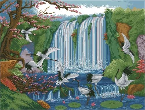 Журавли у водопада
