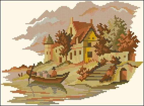 Пейзаж в желто-коричневых тонах