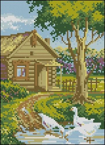 Деревенский дом, пейзаж