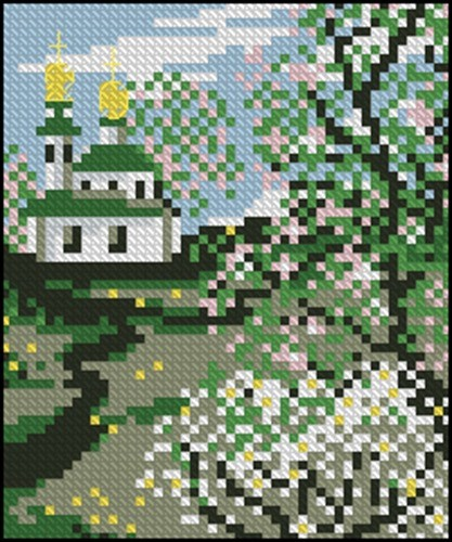 Церковь и цветущий сад