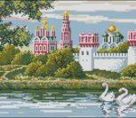 Монастырь и лебеди