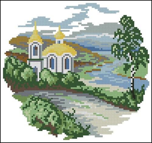 Церковь на фоне деревьев