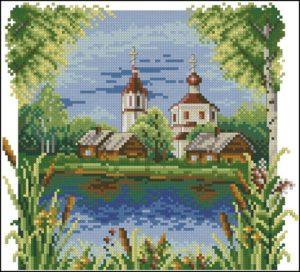Пейзаж лето церковь