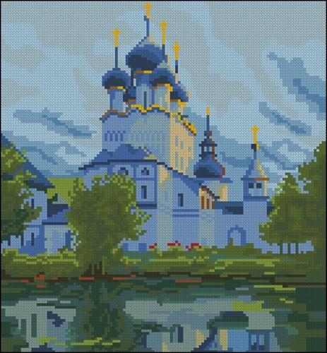 Церковь у озера с синими куполами