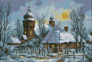 Зима деревня церковь живопись