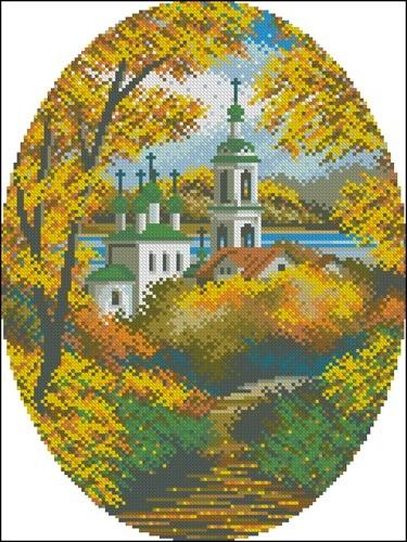 Церковь в овале (осень)