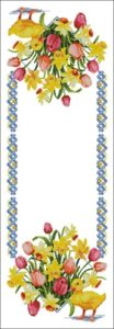 Мотив для пасхального рушника с цветами и утками