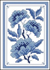 Синие цветы под гжель