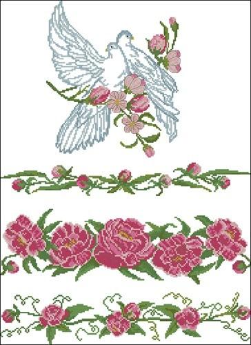 Голуби и цветы для свадебного рушника