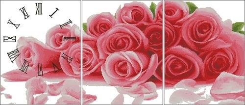 Триптих-часы с розами