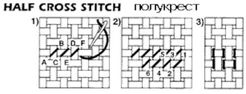 Half stitch «хаф-ститч» — полукрест