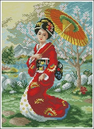 Восточная красавица с зонтиком