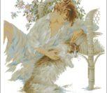 Vrouw in zetel met poes