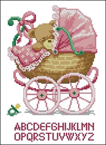 Метрика малыш в коляске (девочка)